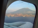 Ternate berlatar belakang Gunung Gamalama